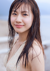 The Japanese-Chinese mixed-race beauty fashion model & underwear, swimsuit model, wearing a beige bikini swimsuit, her name is Ms, Ririna, her height is 172 cm and she is tall, her style is very good, she is an Asian model.