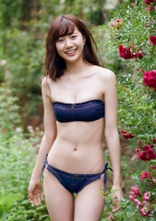 Ms, Ririna is a Japanese-Chinese mixed-race beauty fashion model & underwear, swimsuit model, she is wearing a bikini swimsuit made of jeans fabric, she is standing in the garden, her height is 172 cm and she is tall, her style is very good, she is an Asian model.