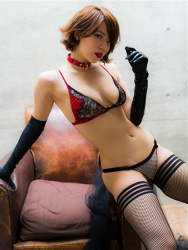 Ms. Asami is a Japanese & Asian sexy beauty gravure idol (bikini model) & actress, her bust is 89 cm, her breasts are relatively large, and her body is very graceful, she is wearing fishnet tights, black gloves, black & red lingerie, collar, she is sitting on a brown sofa, she is a sexually attractive woman.