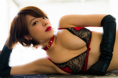 Ms. Asami is a Japanese & Asian sexy beauty gravure idol (bikini model) & actress, her bust is 89 cm, her breasts are relatively large, and her body is very graceful, she is wearing fishnet tights, black gloves, black & red lingerie, collar, she is lying down, she is a sexually attractive woman.