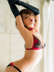 Ms. Asami is a Japanese & Asian sexy beauty gravure idol (bikini model) & actress, her bust is 89 cm, her breasts are relatively large, and her body is very beautiful, she is wearing fishnet tights, black gloves, black & red lingerie, collar, she is standing, she is a sexually attractive woman.