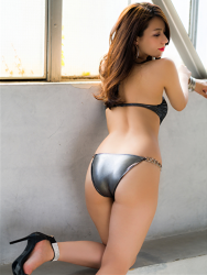 Ms. Asami is a Japanese & Asian sexy beauty gravure idol (swimsuit model) & actress, wearing a silver sexy swimsuit, she shows her back & butt, her bust is 89 cm, her breasts are relatively large, she has a beautiful body shape, and she is a sexually attractive woman.