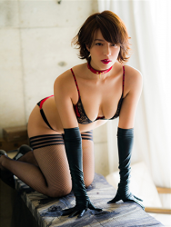 Ms. Asami is a Japanese & Asian sexy beauty gravure idol (bikini model) & actress, her bust is 89 cm, her breasts are relatively large, and her body is very graceful, she is wearing fishnet tights and black and red lingerie, collar, she's lying face down on her desk, she is a sexually attractive woman.