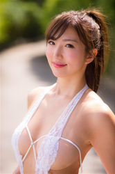 Ms. Eira is wearing a very sexy white bikini swimsuit, her bust is 87 cm, she has healthy and beautiful breasts, she is slim and graceful, she is a Japanese & Asian sexy beauty gravure idol (bikini model), and she is a sexually attractive woman.