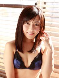 Japanese & Asian mature gravure idol (swimwear model) Ms. Emiri wears blue lingerie.