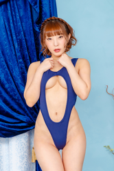 Ms. Maine is a Japanese & Asian pretty & cute beautiful breasts (glamour) swimsuit model (pin-up girl), wearing a sexy blue sexy swimsuit, she is standing, her bust is 85 cm, she has beautiful breasts, she is a sexually attractive woman.