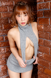 Ms. Maine is a Japanese & Asian pretty & cute beautiful breasts (glamour) gravure idol (bikini model), she is very cute, she is wearing a gray dress, she is standing, her bust is 85 cm, she has beautiful breasts and she is a sexually attractive woman.