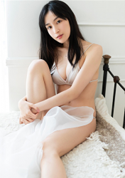 Ms. Kanami is a Japanese & Asian actress, bikini model (pin-up girl), she wore a light silver bikini and challenged her swimsuit shooting to express her sexy figure, she was sitting on the bed, her bust was 86 cm, she had beautiful breasts.