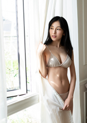 Ms. Kanami is a Japanese & Asian actress, bikini model (pin-up girl), she wore a light silver bikini and challenged her swimsuit shooting to express her sexy figure, her bust was 86 cm and she had beautiful breasts.